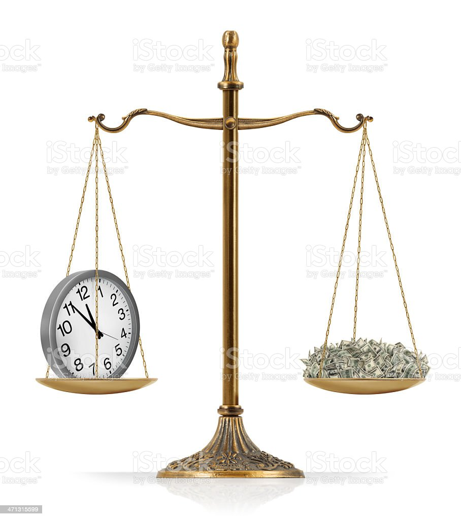 """Time is Money There is clock at the one side of """"Scales of Justice"""" while there is money on the other side. Clock and money are equal weighted. Isolated on white background. American One Hundred Dollar Bill Stock Photo"""