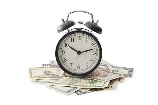 Time is money, Isolated on white, Clipping Path