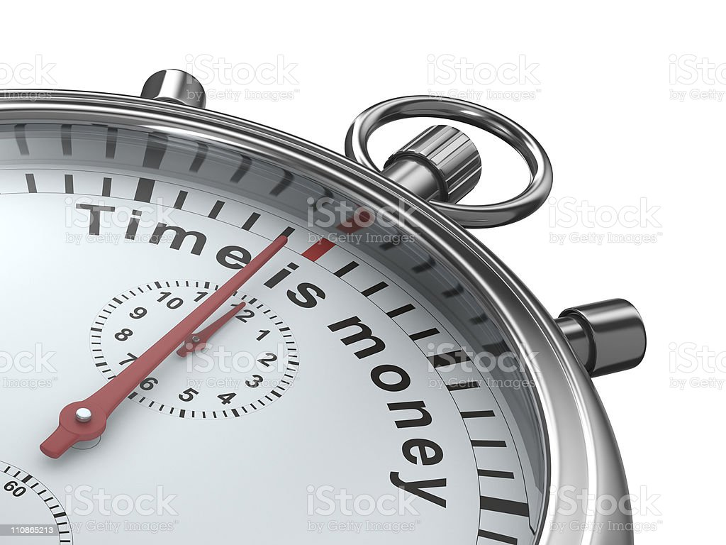 Time is money. Stopwatch on white background. Isolated 3D image stock photo