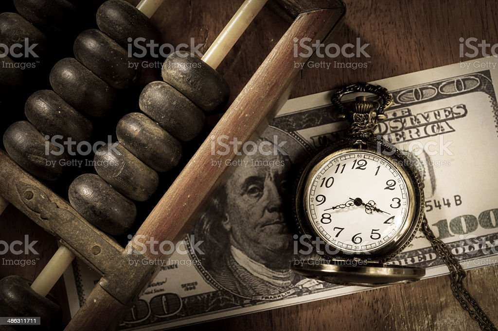 Time is money,vintage style color. stock photo