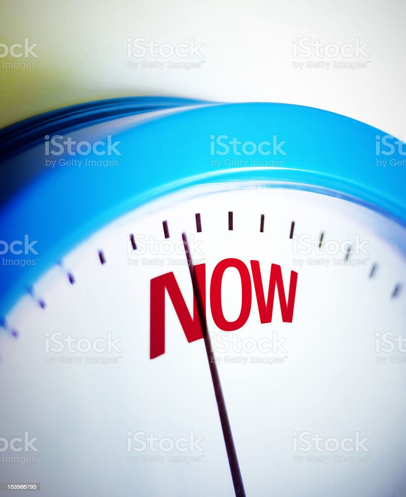 Time is NOW Clock is showing deadline time. Take action NOW. Activity Stock Photo