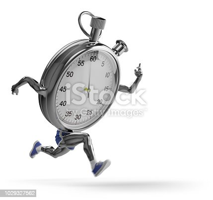 Stopwatch with feet and hands runs.
