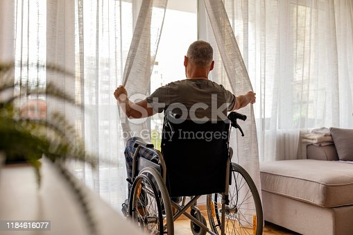 Rear view of mature man in wheelchair opening curtains in order to look thru window from home during the day.
