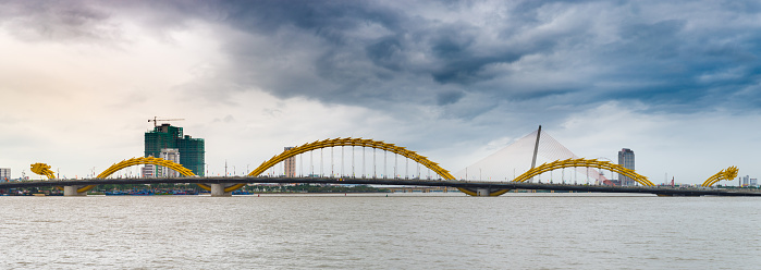 Time Lapse Dramatic Stormy Sky Over Dragon Bridge In Da Nang Vietnam Stock Photo Download Image Now Istock