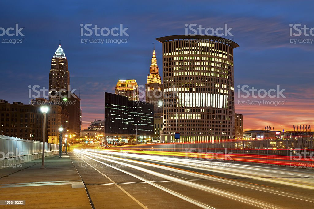 Time lapse photo of Cleveland at night stock photo