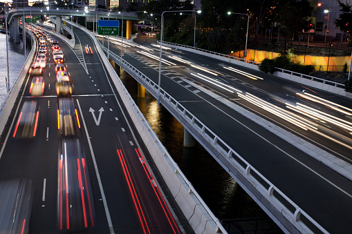 Rush hour traffic on freeway. This image was shot in Brisbane Queensland Australia. Brisbane is the state capital and has serious congestion problems at times.