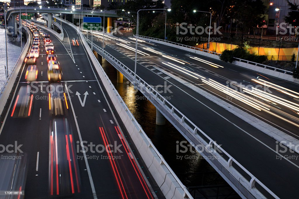 Time lapse photo of highway with moving traffic stock photo