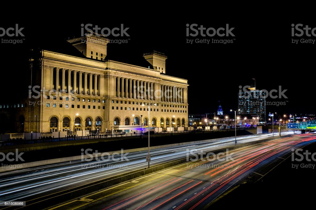 Time Lapse Photography Of The Milwaukee County Courthouse At Night With Cars Driving On Interstate 43 In Milwaukee Wisconsin stock photo