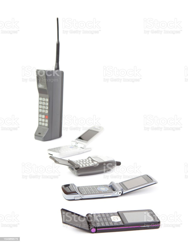 Time line of mobile phones from older to newer stock photo