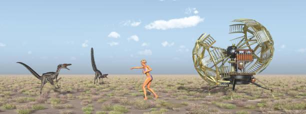 time machine, weibliche zeitreisenden und dinosaurier - dinosaurier illustration stock-fotos und bilder