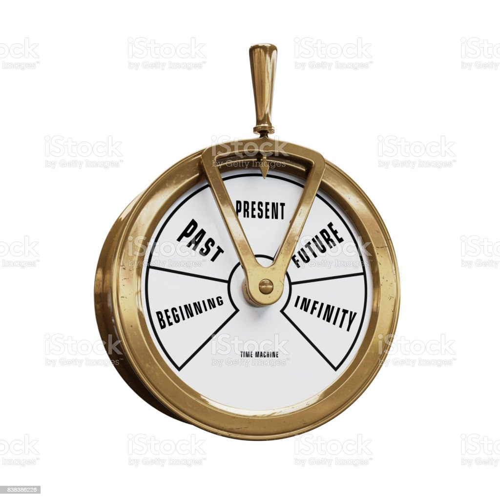 Time machine telegraph going to Present time stock photo