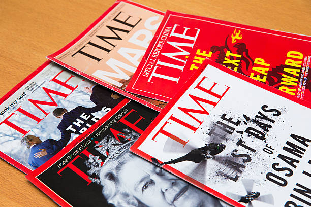 Time Magazine Shanghai, China - Oct 2, 2013: Time magazine displayed. Time is America's most popular magazine which introduces news to the public on a weekly basis. time magazine stock pictures, royalty-free photos & images