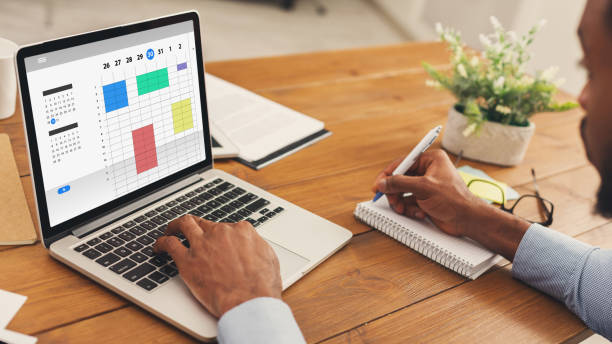 Time management. Collage with African American businessman using online planner to organize work agenda. Panorama stock photo