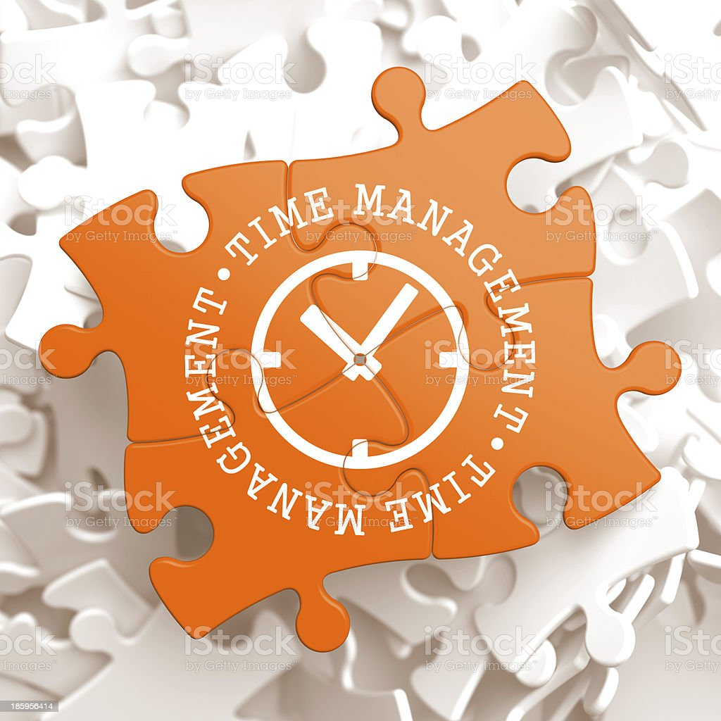Time Management Concept on Orange Puzzle Pieces. royalty-free stock photo