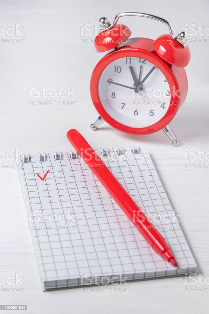 Time management concept. Time to complete the task. Check list....
