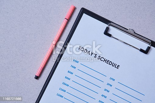 Time management deadline and schedule concept: schedule sheet and pen on grey background.