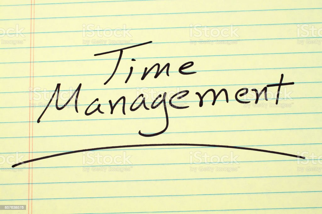 Time Management On A Yellow Legal Pad stock photo