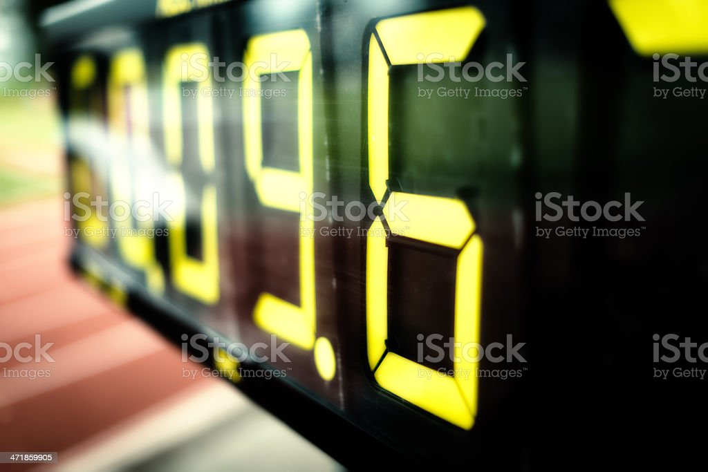 time measurement at a track meeting stock photo