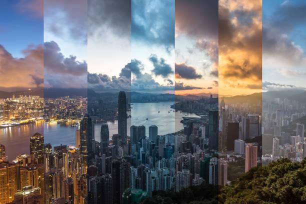 hongkong cityscape zaman karışımı - timeline stok fotoğraflar ve resimler