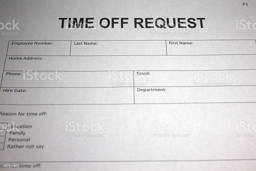 Time Off Request Form Royalty Free Stock Photo