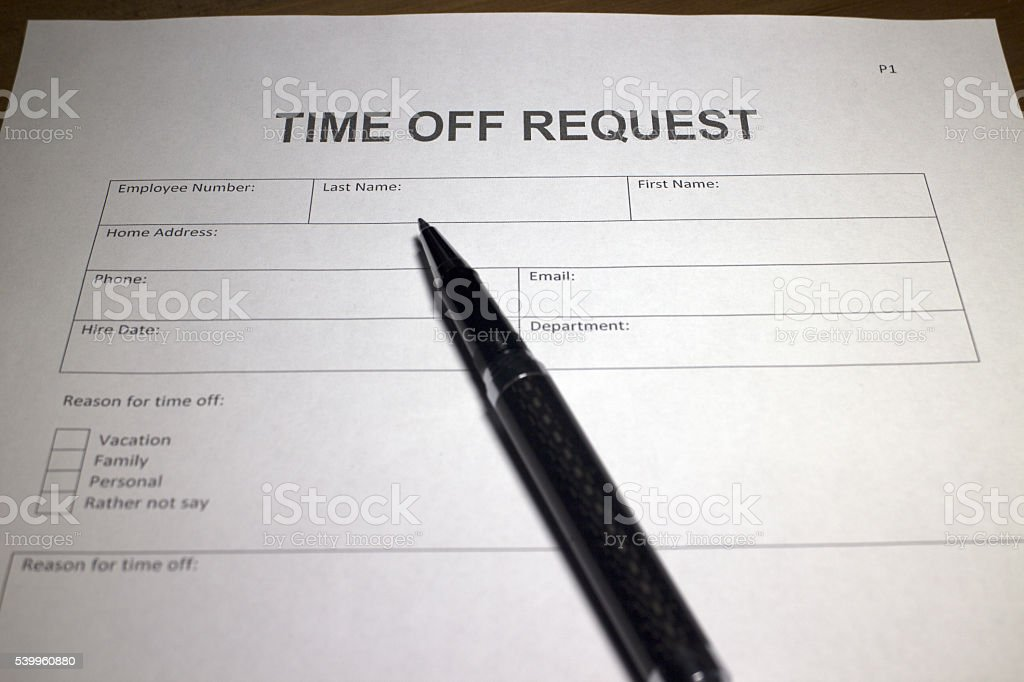 Time off Request stock photo