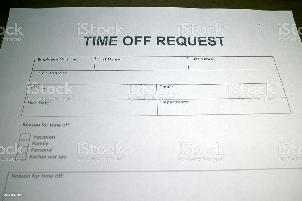 Time Off Work Request Document Stock Photo  More Pictures Of