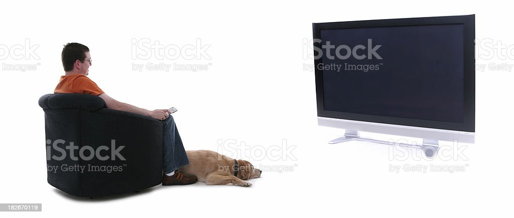 TV time on the big screen 2. stock photo