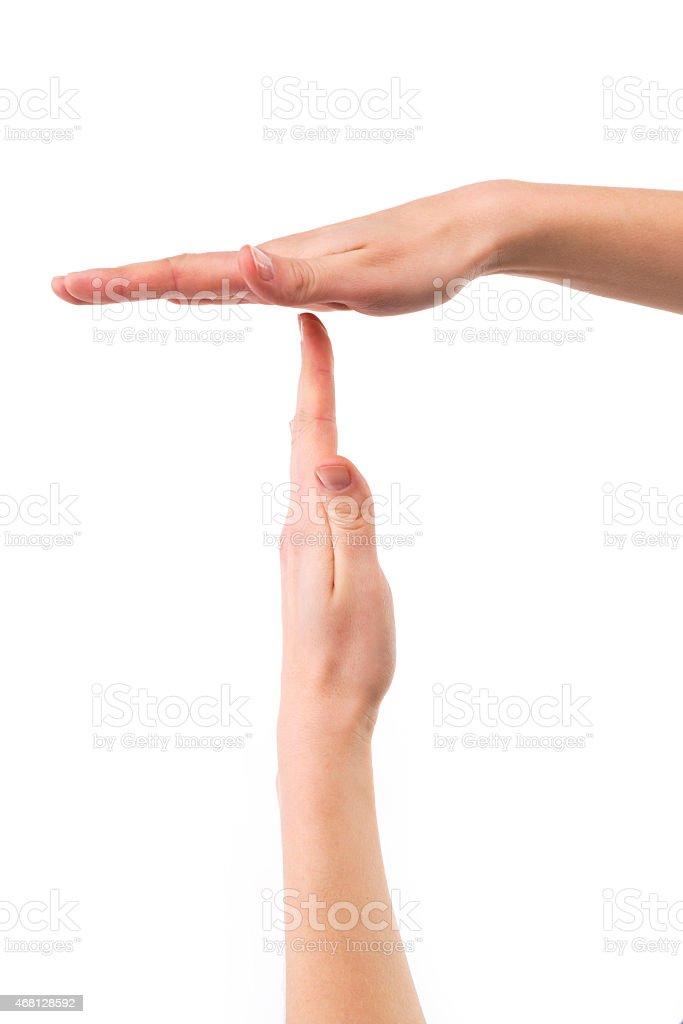Time Out hand Geste auf Weiß – Foto