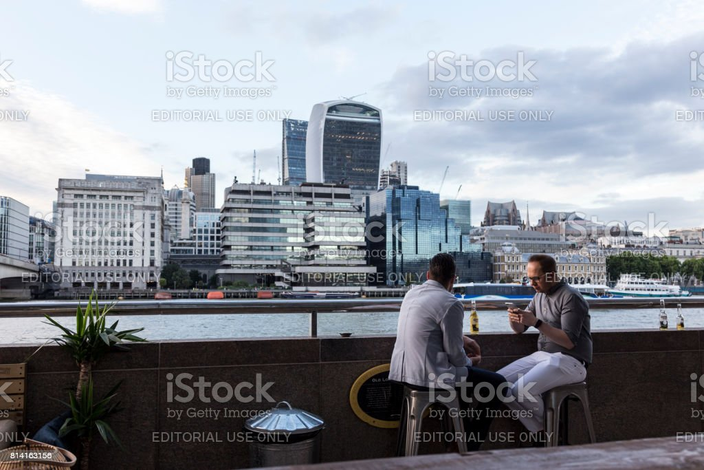 Time out with view at the City of London. stock photo