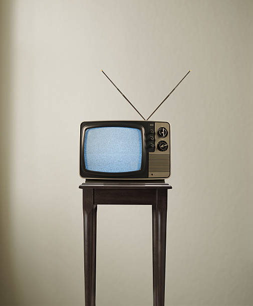 TV Time Vintage TV on table. portable television stock pictures, royalty-free photos & images