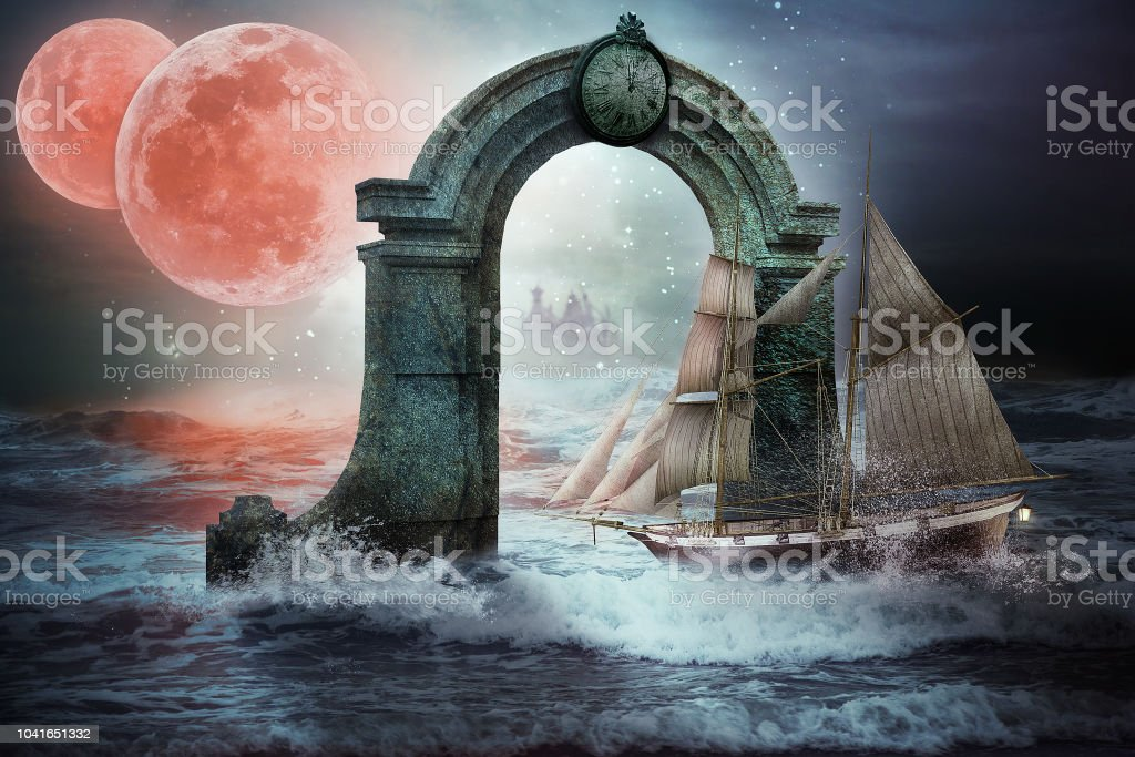 Time portal in the stormy sea stock photo