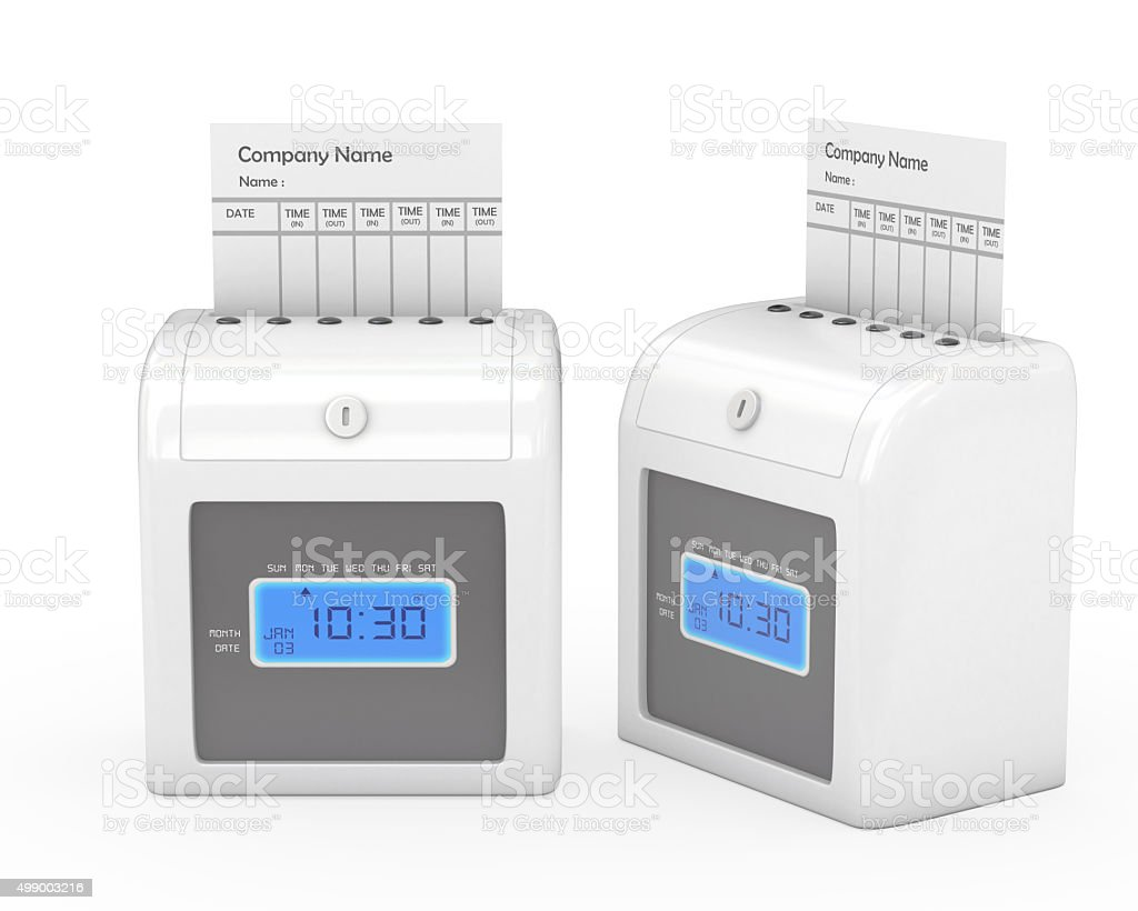 Time recorder machine and timecard with clipping path, stock photo