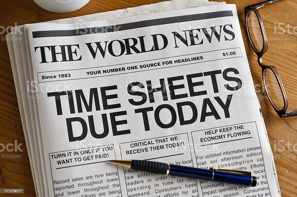 Time Sheets Due stock photo