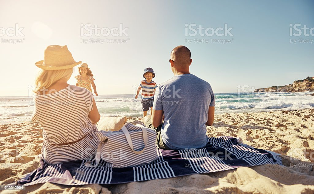 Time spent at the beach is never wasted stock photo