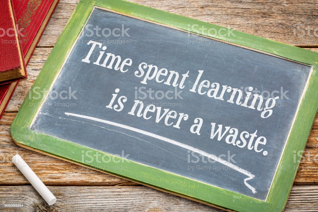 Time spent learning in never a waste stock photo