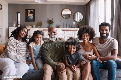 Portrait of a beautiful multi-generational family posing together on a sofa at home