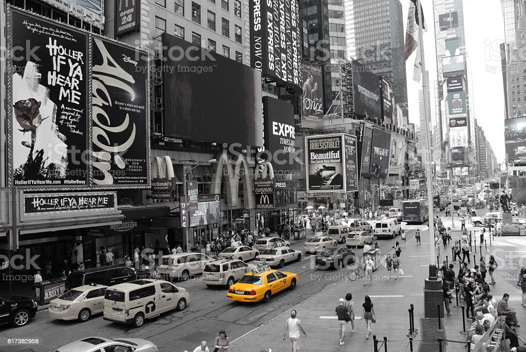 Time Square and Broadway at Manhattan, New York City - foto de acervo