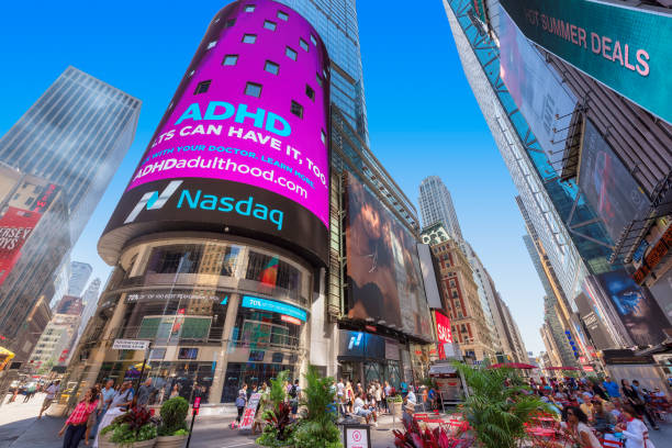 Time Square and NASDAQ building stock photo