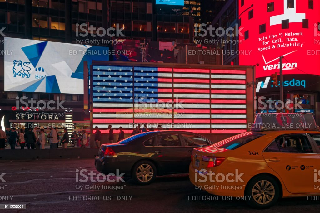 Time Square at night stock photo