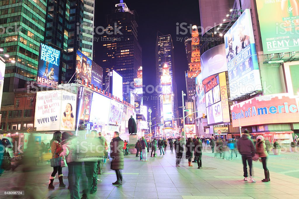 Time Square by night, New York City stock photo