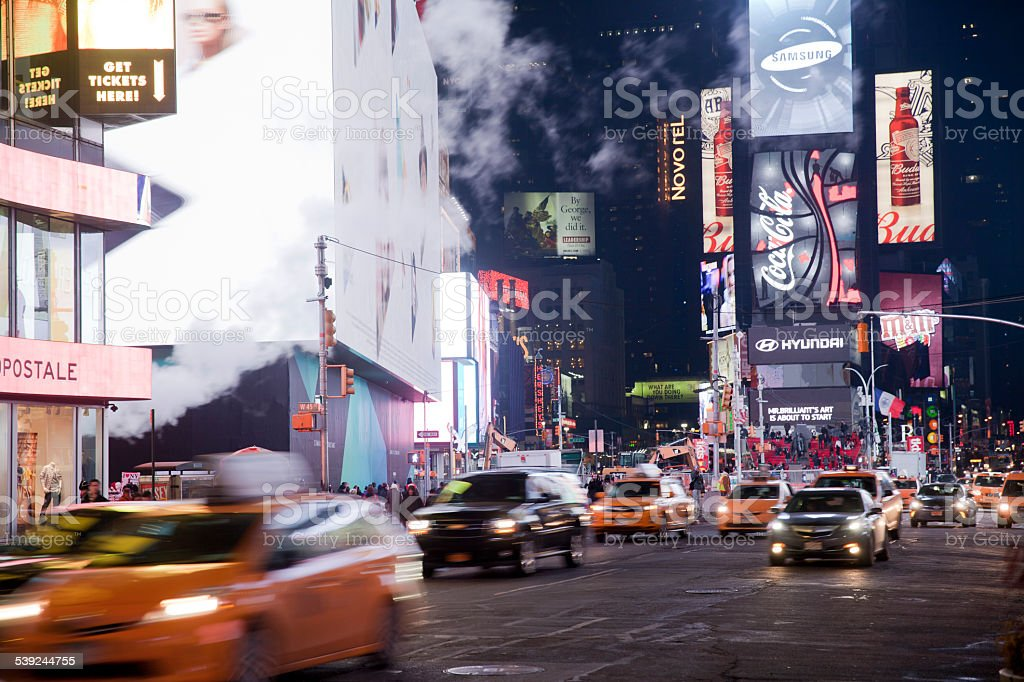 Time Square in New York City at night royalty-free stock photo