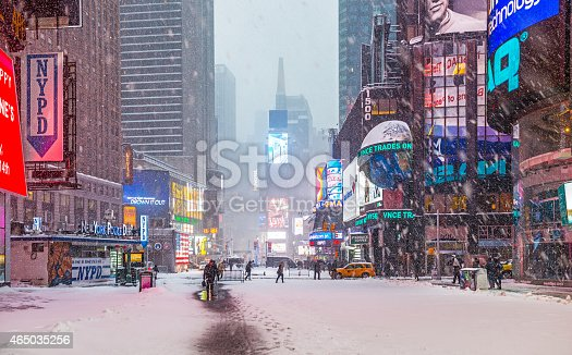 Time Square in snow storm early morning, New York, USA. Taken with Nikon D800 and developed from Raw