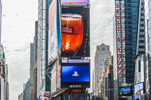 time square new york billboards - mamma mia stock photos and pictures