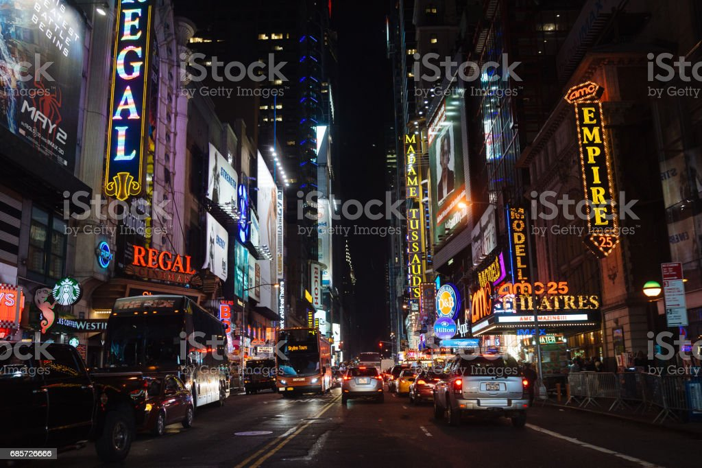 Time Square, New York City at night stock photo