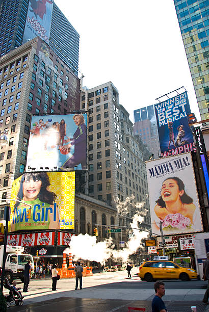 time square - new york city - mamma mia stock photos and pictures