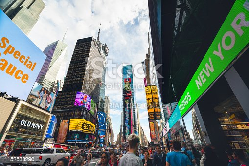istock Time Square, New York City. Skyscrapers, Billboards, Neon Art and Traffic 1152538290
