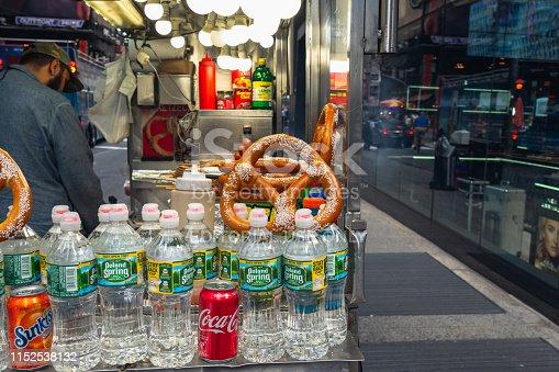 istock Time Square, New York City. Street Vending. Cola, Water Bottles, Pretzel 1152538132