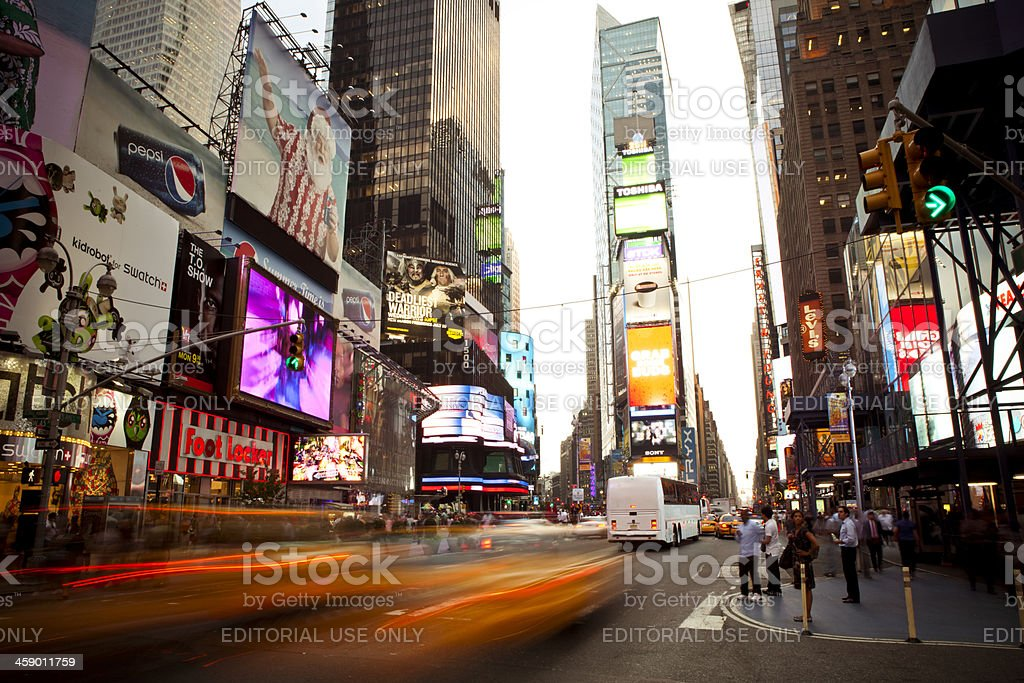 Time Square New York People Tourists City Life Commercial Signs stock photo