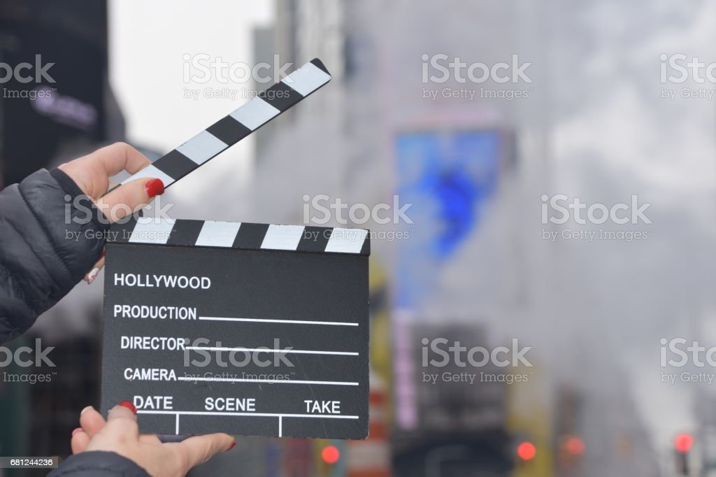 Time Square through hollywood clapper stock photo