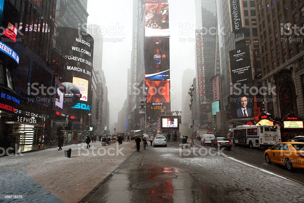 Time Square Winter stock photo